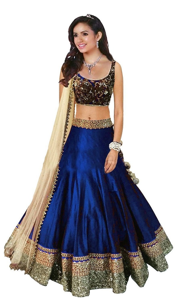Buy Navy Blue Color Banglori Satin Stitched Lehenga