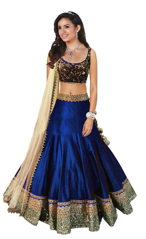 Navy Blue Color Banglori Satin Stitched Lehenga - Beuty-RoyalBlue-Lehenga