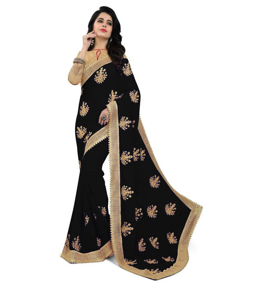 7a1fe218cb4eb2 Buy Black Color Embroidered Faux georgette Saree   Zinnga