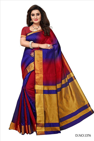 Multicolor Color Zari Woven   Cotton Silk Saree - Bf5164Red_Purple