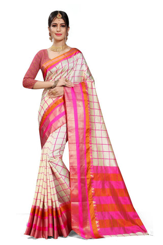 White Color Woven Cotton Silk Saree - Bf5257