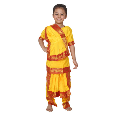 Yellow Color Cotton Blend Fancy Costume Dress  - Bharatnatyam-1