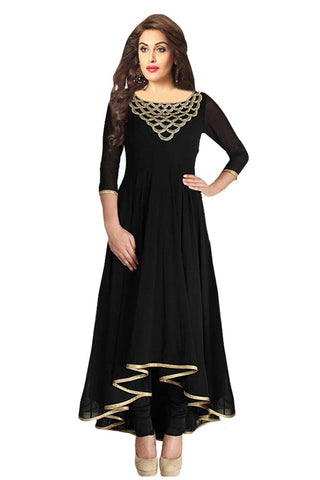 Black Color Georgette Semi Stitched Salwar - Bikaw-BlackBeauty