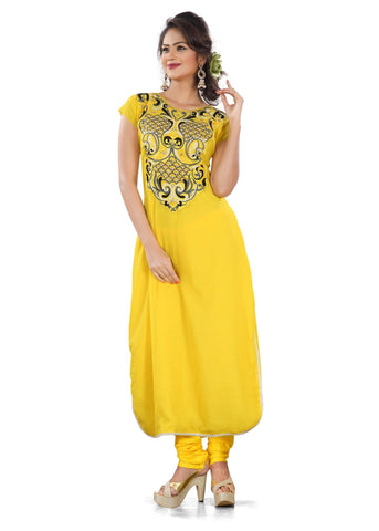 Yellow Color Silk Semi Stitched Salwar - Bikaw-G-05