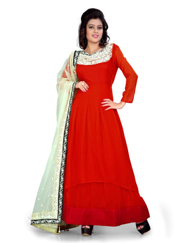 Red Color Satin Silk Semi Stitched Salwar - Bikaw-G-14