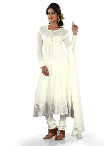 White Color Georgette Semi Stitched Salwar - Bikaw-G-15
