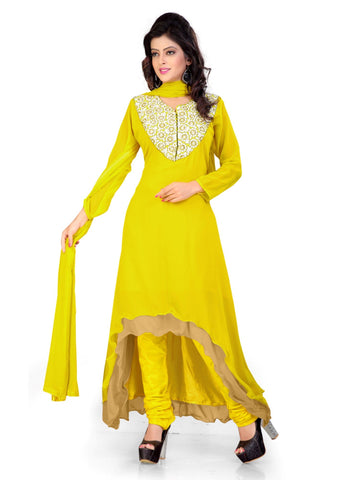 Yellow Color Georgette Semi Stitched Salwar - Bikaw-G-20