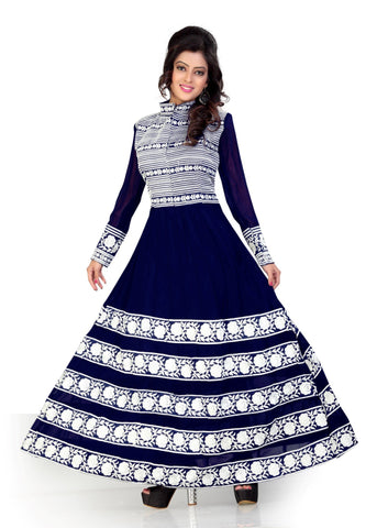 Blue Color Georgette Semi Stitched Salwar - Bikaw-G-22