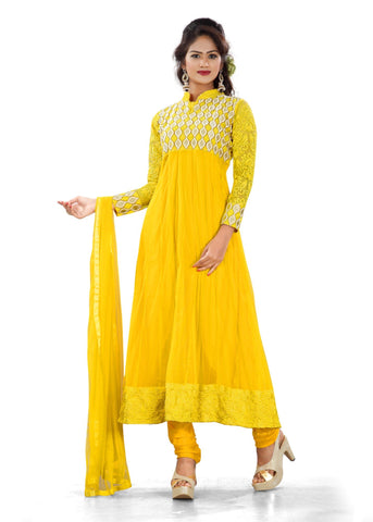 Yellow Color Georgette Semi Stitched Salwar - Bikaw-G-25