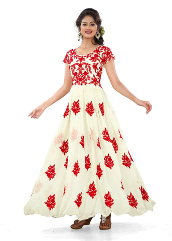 White Color Net Semi Stitched Salwar - Bikaw-G19