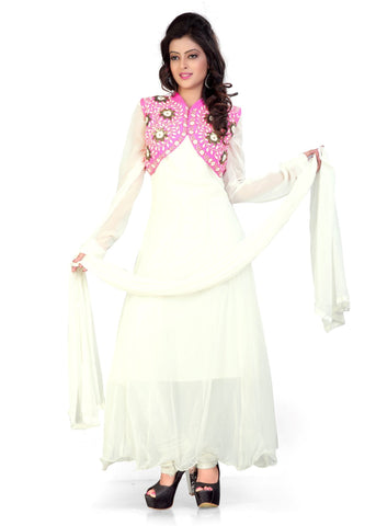 White Color Georgette And Velvet Semi Stitched Salwar - Bikaw-G21