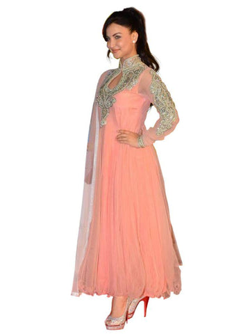 Peach Color Net Semi Stitched Salwar - Bikaw-G9