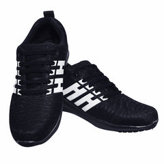 Black Color Mesh Men Shoe - BLACK-H