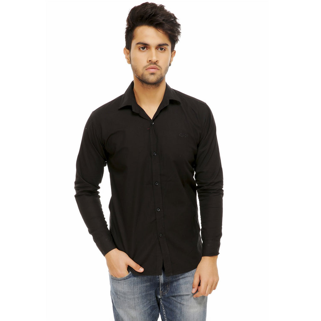 Buy Black Color Cotton Blend Slim Fit Shirts
