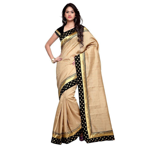 Beige Color Bhagalpuri Saree - Blackdot-Beige-1