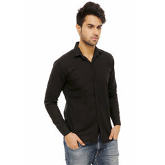 Black Color Cotton Blend Slim Fit Shirts - Black-shirtsNew