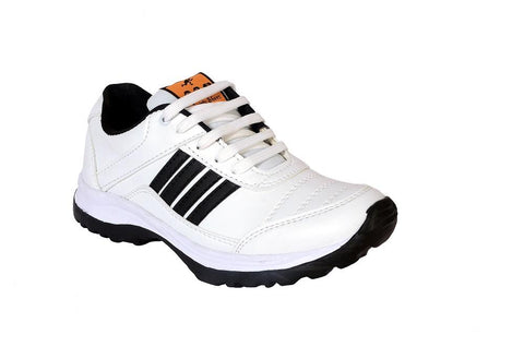 White Color Synthetic Mens Sports Running shoe - Blackwhite