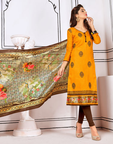Yellow Color Cotton UnStitched Salwar - Blockbuster1003