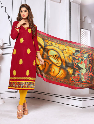 Maroon Color Cotton UnStitched Salwar - Blockbuster1008