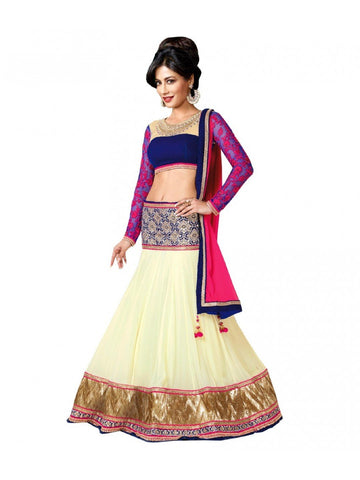 Blue Color Georgette Stitched Lehenga - Blue-Belt-Lehengha