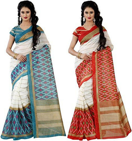 Bhagalpuri Combo Sarees - Blue-Orange