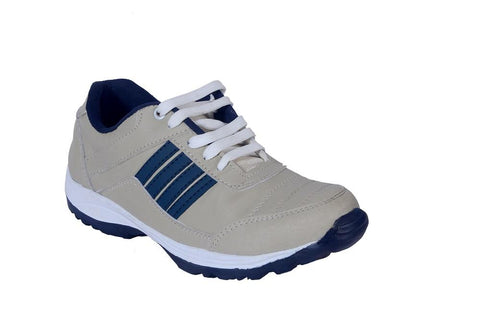 Cream Color Synthetic Mens Sports Running shoe - Bluecream