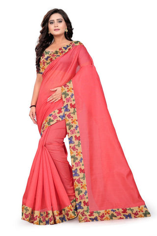Peach Color Bhagalpuri Saree - ButteryFly-Peach