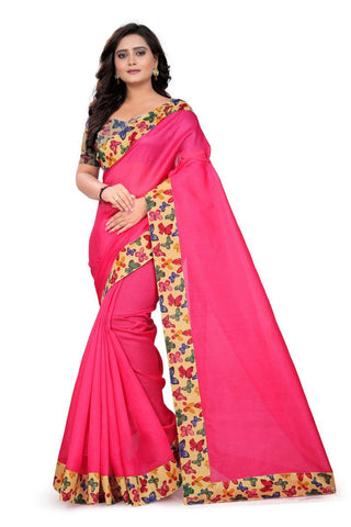Pink Color Bhagalpuri Saree - ButteryFly-Pink