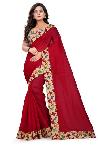Red Color Bhagalpuri Saree - ButteryFly-Red
