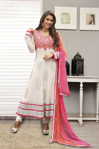 OffWhite Color Georgette Un Stitched Salwar - C-1003