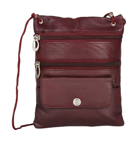 Burgundy Color Leather Women Cross Body Bag - C-13BURG