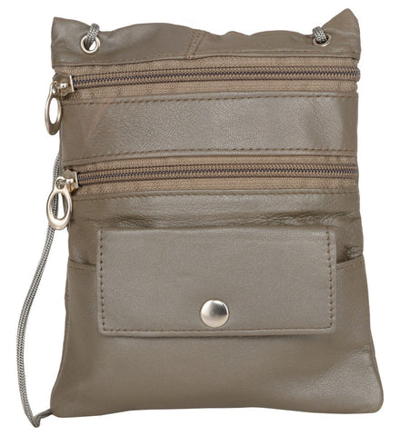 Grey Color Leather Women Cross Body Bag - C-13GREY