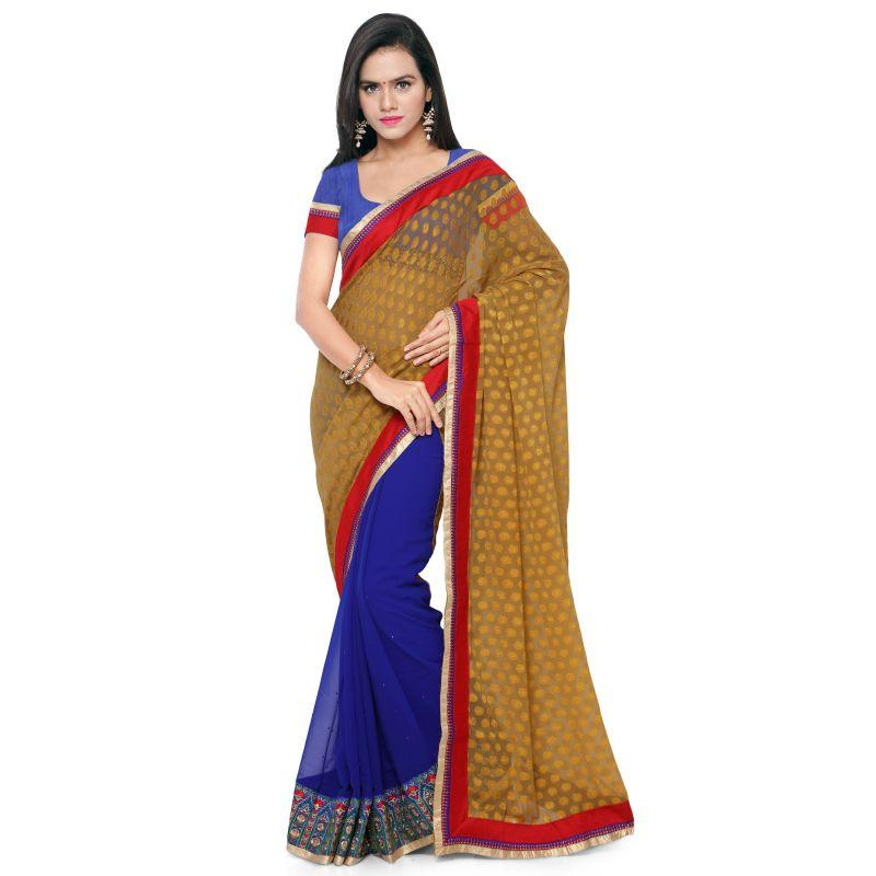 Mustard Color Georgette and Jacquard Saree