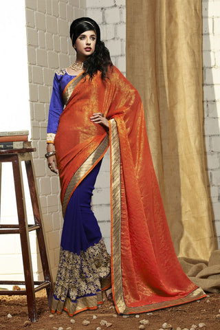 Orange Color Georgette Saree - C-2010