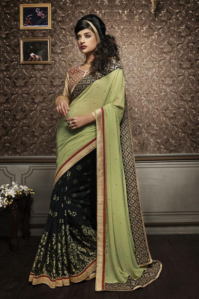 Pista Green Color Georgette Saree