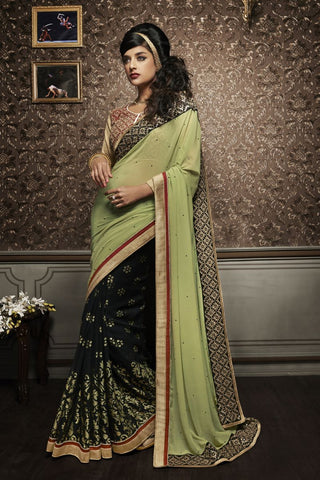 Pista Green Color Georgette Saree - C-2011