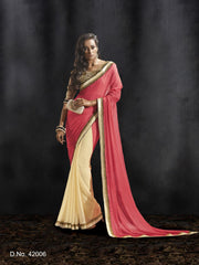 Red and Cream Color Shimmer Georgette Saree - C-42006