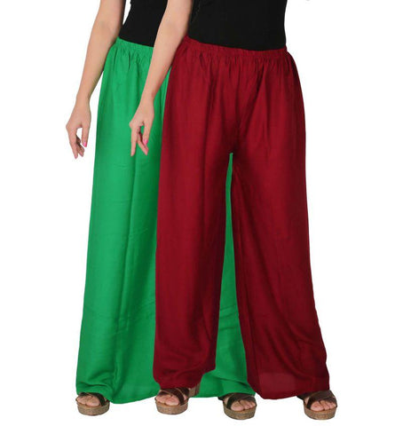 Pack Of 2 Stitched Rayon Palazzos - C-RPZ-GM