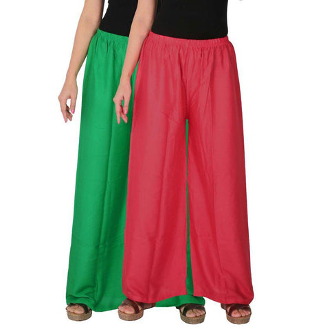 Pack Of 2 Stitched Rayon Palazzos - C-RPZ-GP