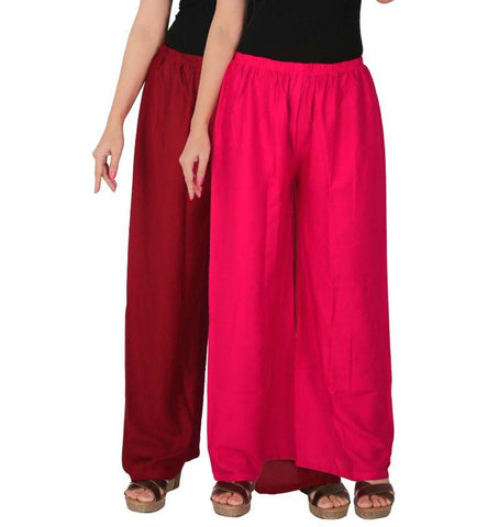Pack Of 2 Stitched Rayon Palazzos - C-RPZ-MM1