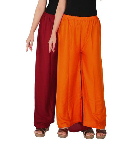 Pack Of 2 Stitched Rayon Palazzos - C-RPZ-MO