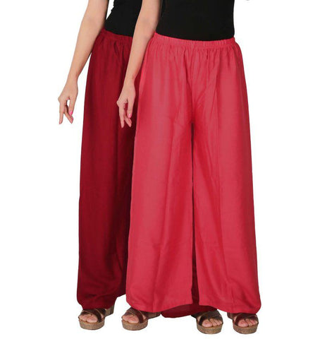 Pack Of 2 Stitched Rayon Palazzos - C-RPZ-MP