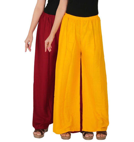 Pack Of 2 Stitched Rayon Palazzos - C-RPZ-MY