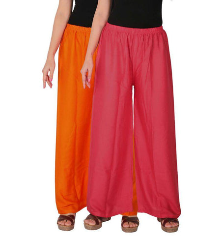 Pack Of 2 Stitched Rayon Palazzos - C-RPZ-OP