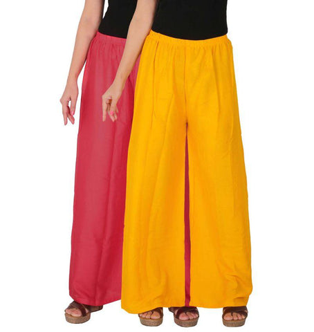 Pack Of 2 Stitched Rayon Palazzos - C-RPZ-PY