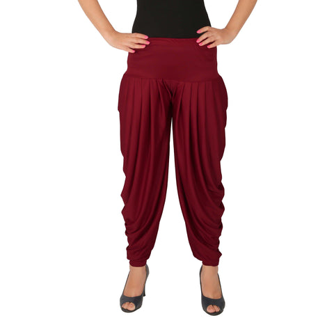 Maroon Color Lycra Free Size Dhoti Pants  - C-SP-DH-M