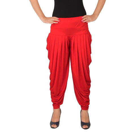 Red Color Lycra Free Size Dhoti Pants  - C-SP-DH-R