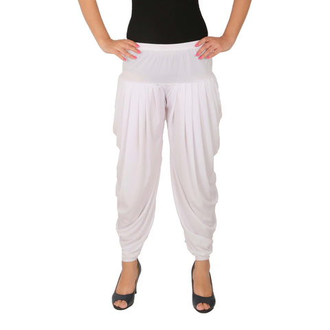 White Color Lycra Free Size Dhoti Pants  - C-SP-DH-W
