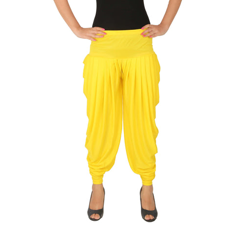 Yellow Color Lycra Free Size Dhoti Pants  - C-SP-DH-Y