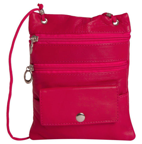 Pink Color Leather Women Cross Body Bag - C13PINK